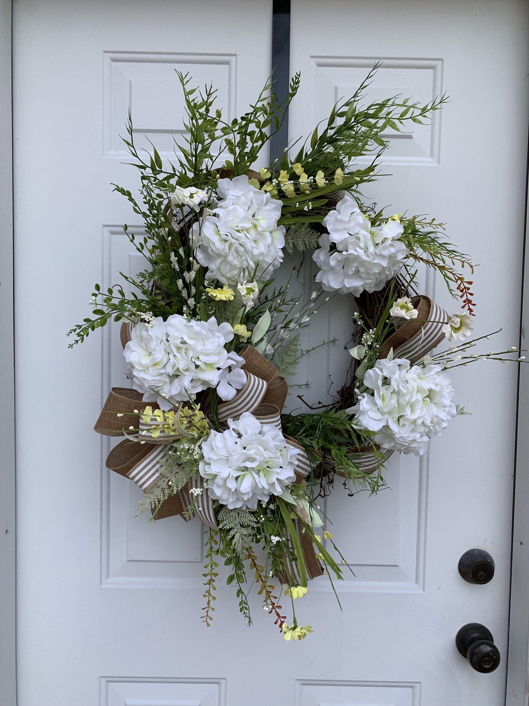 Photo of Spring magnolia wreath, magnolia wreath, grapevine wreath, neutral wreath