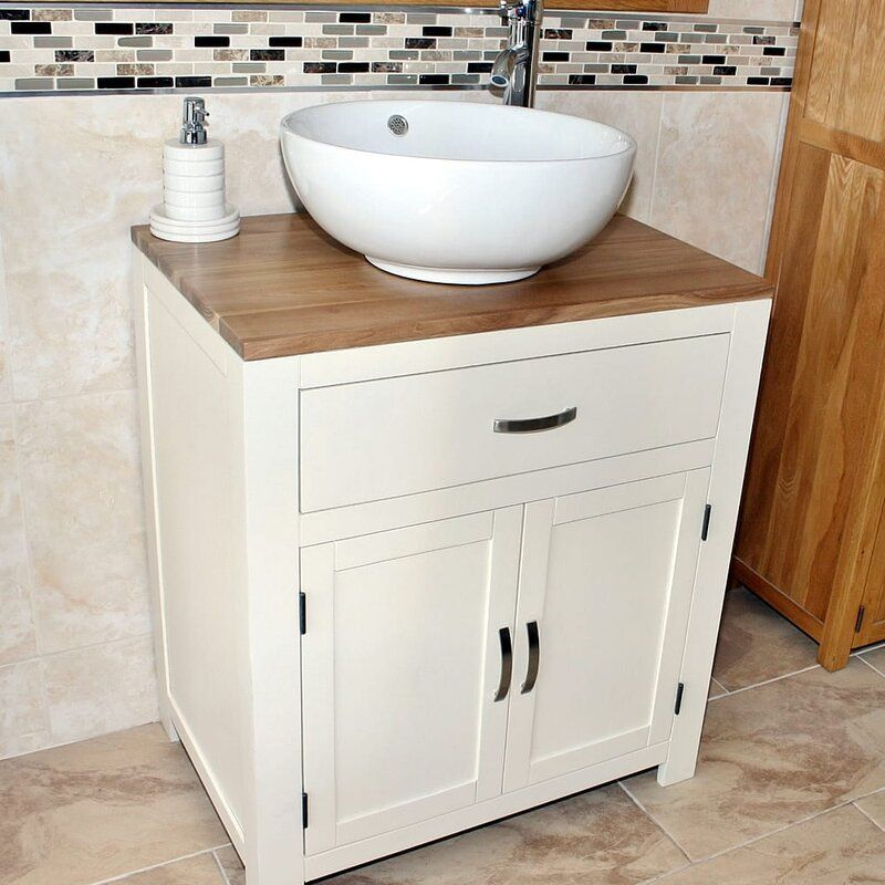 Shelby Solid Oak 70mm Free Standing Vanity Unit Vanity Units Free Standing Vanity Solid Oak