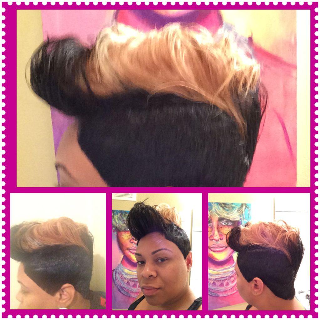 27 piece short cut, jet black and honey blonde fohawk | turning