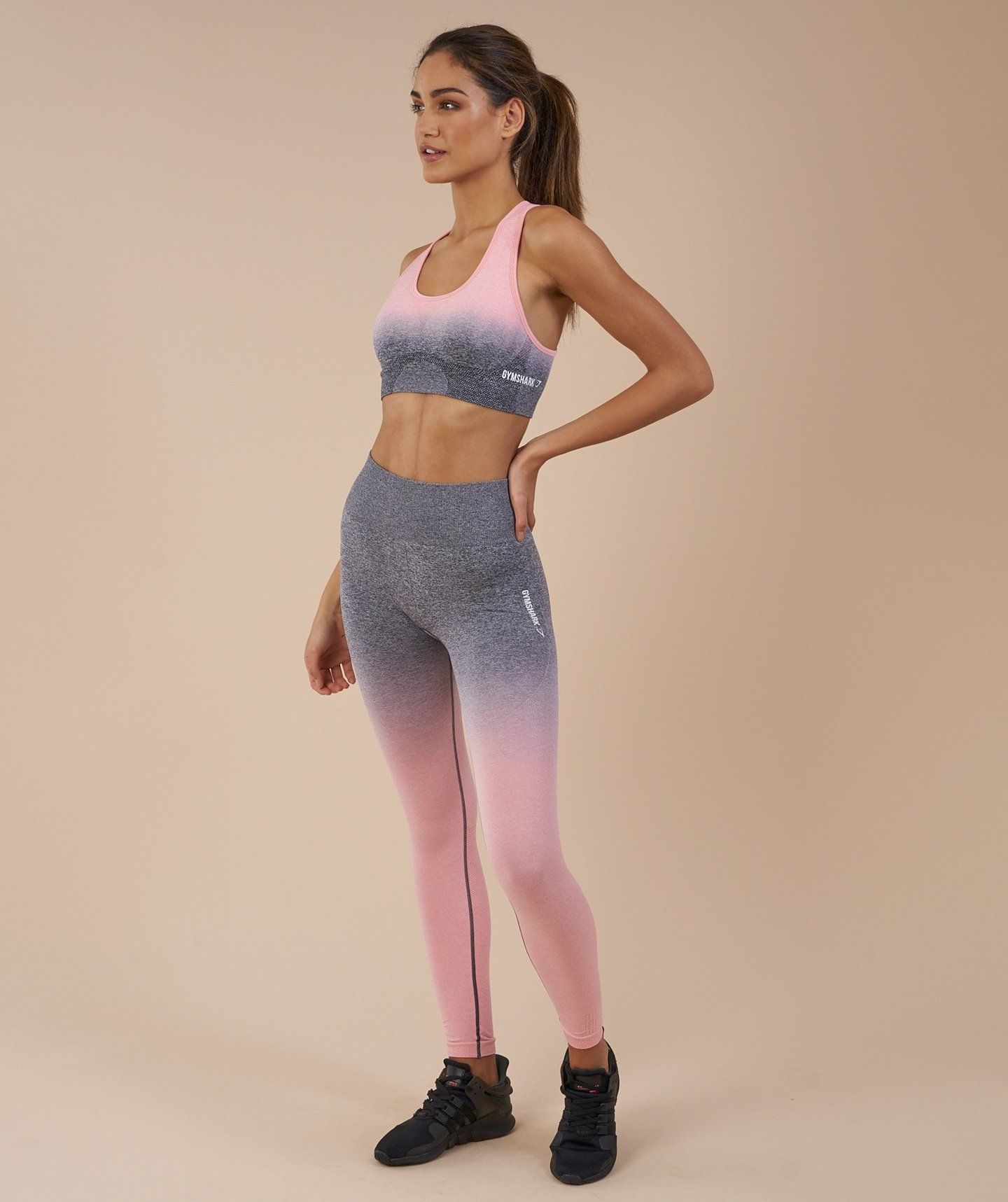 64940b3bae75d Gymshark Ombre Seamless Leggings - Peach Pink/Charcoal 2 | Pay Day ...