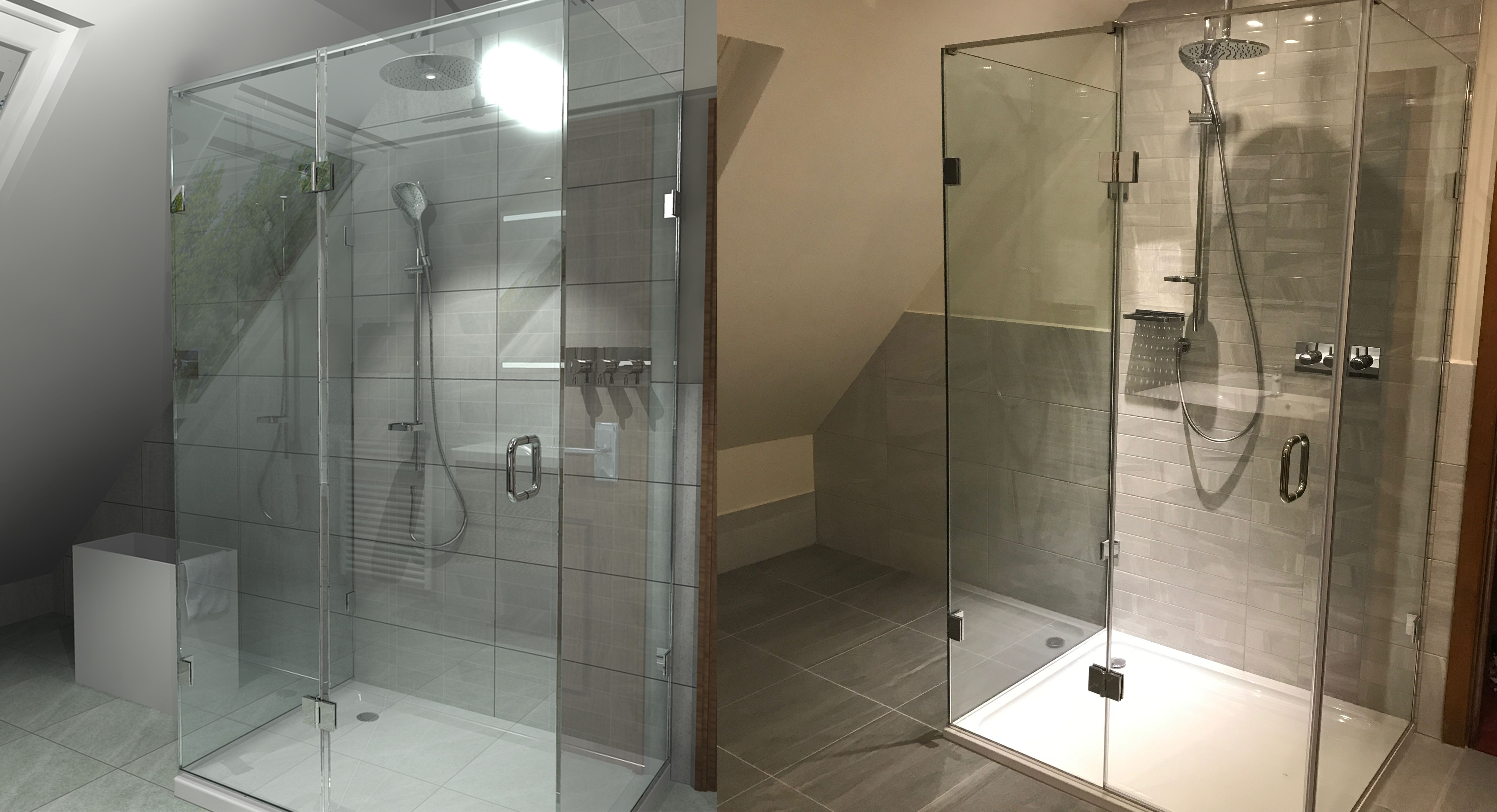 A spacious loft conversion with 3-sided frameless shower enclosure ...