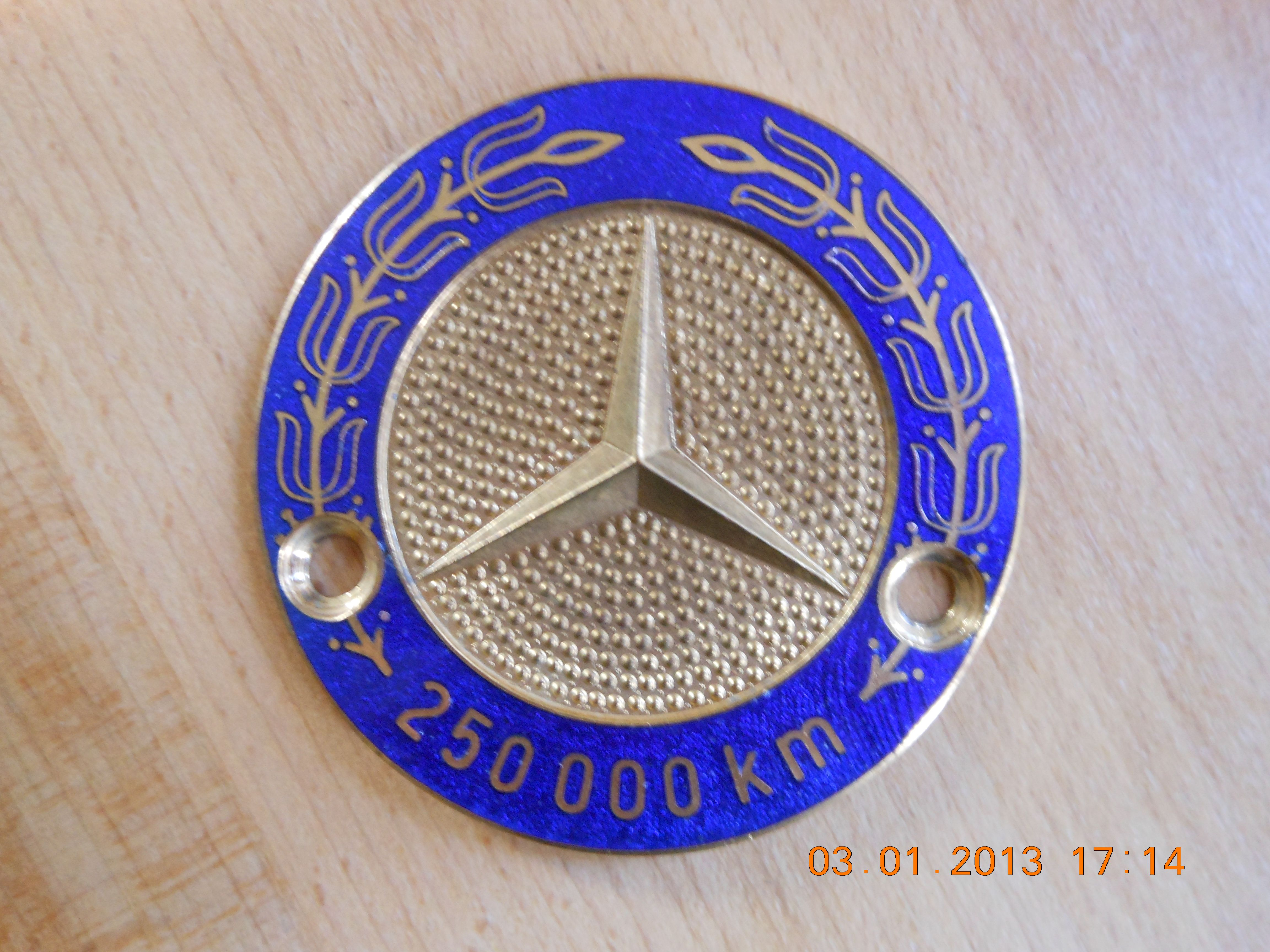 Mercedes benz 250 000 km high mileage badge for sale a for Mercedes benz badges for sale