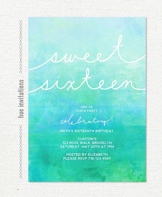 sweet 16 invitation, 16th birthday party invitation, turquoise blue