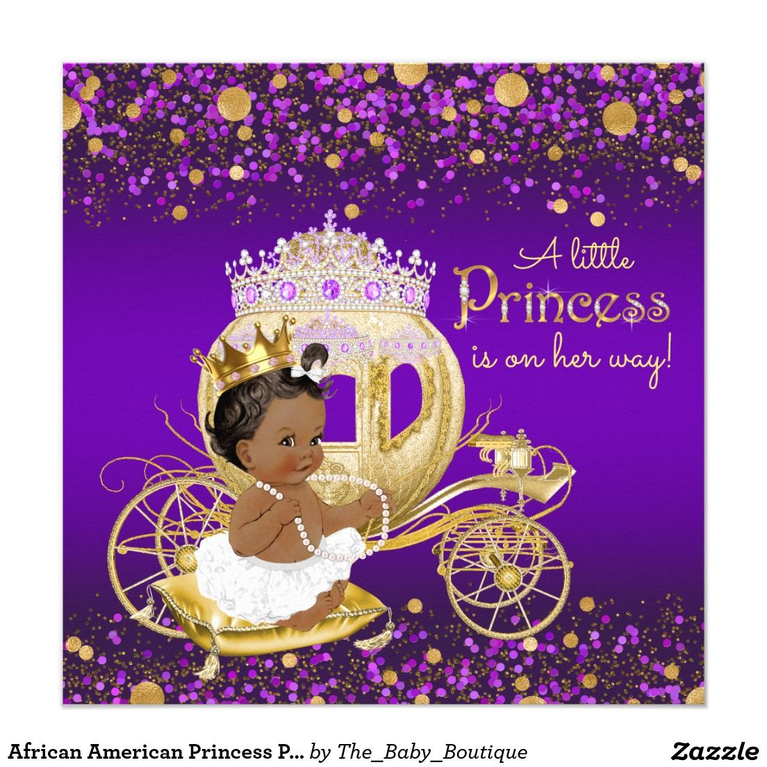 african american princess purple gold baby shower card | ethnic, Baby shower invitations
