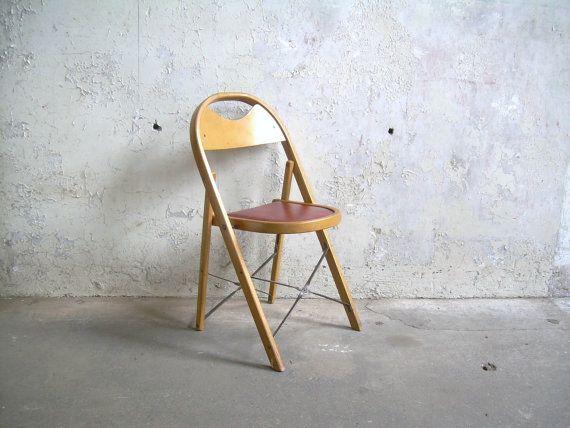 Wood Folding Chair Dark Cherry Red Vinyl by TheArtifactoryStudio, $45.00