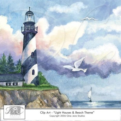 Lighthouse, Summer, Beach, Ocean, Nautical Clip Art