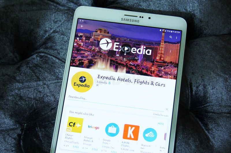 Expedia hotels, flights and cars app. Downloading expedia
