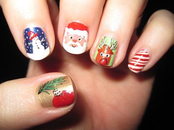 Paulette magazine la compilation des nail art de nol nail inspirations christmas nail art design snowy santa christmas nail art by prinsesfo Gallery