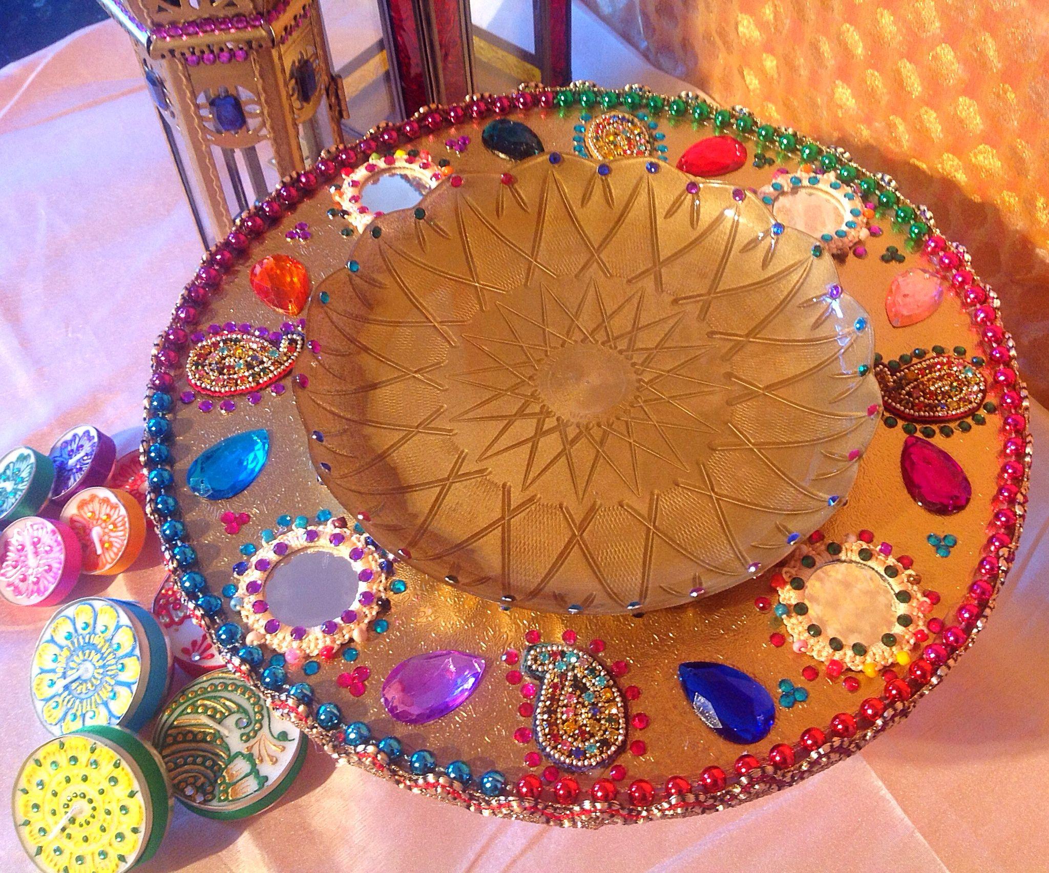 Diy Mehndi Plates : A beautiful sweet mitai mehndi plate love the multi colours see