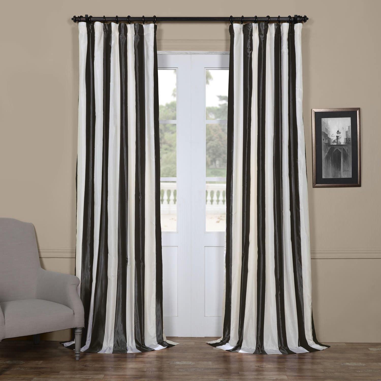 Exclusive Fabrics Signature Stripe Dark Grey White Faux Silk