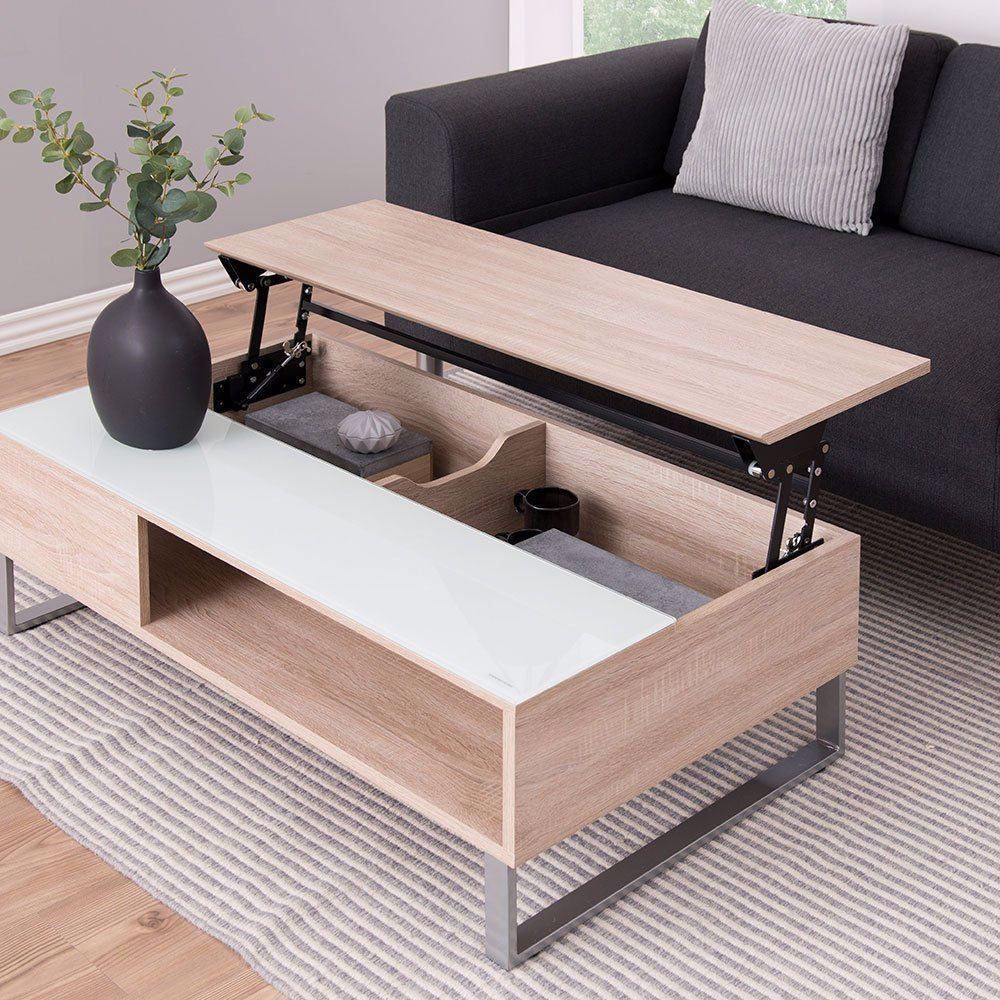 Une Table Basse Avec Plateau Relevable Et Rangements Caches But In 2020 Coffee Table Storage Bench Furniture