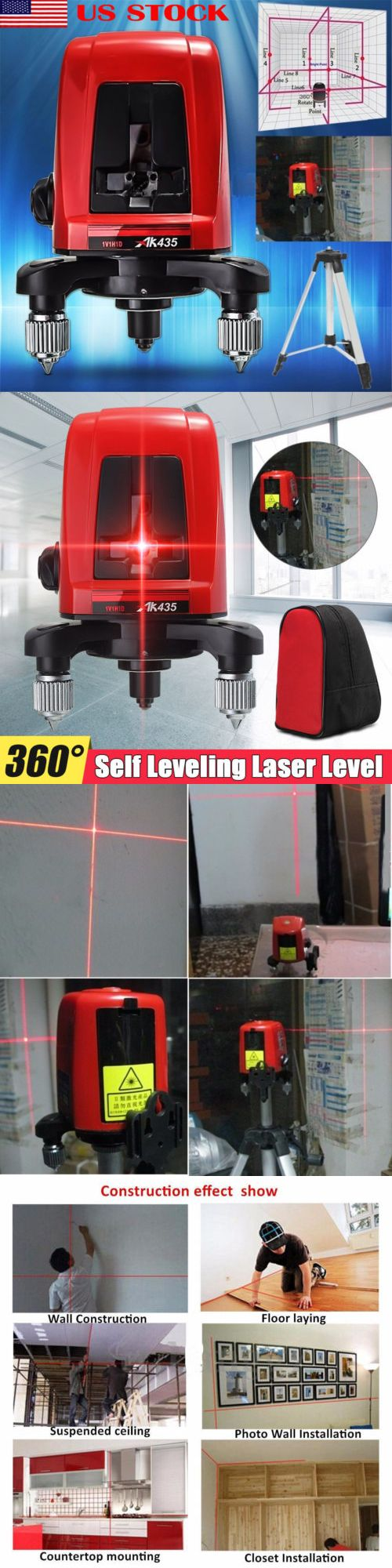 Laser Measuring Tools 126396 Ak435 360 Degree Self Leveling Cross Laser Level 2 Line 1 Point Package Bag Usa Buy It Now Only 2 Laser Levels Usa Bag Laser