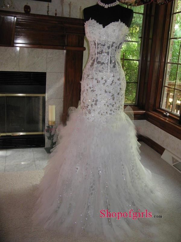 Glamourous Sexy Sweetheart Mermaid Lace Applique Sequins Inexpensive Wedding Dresses Under 250 WD 4684