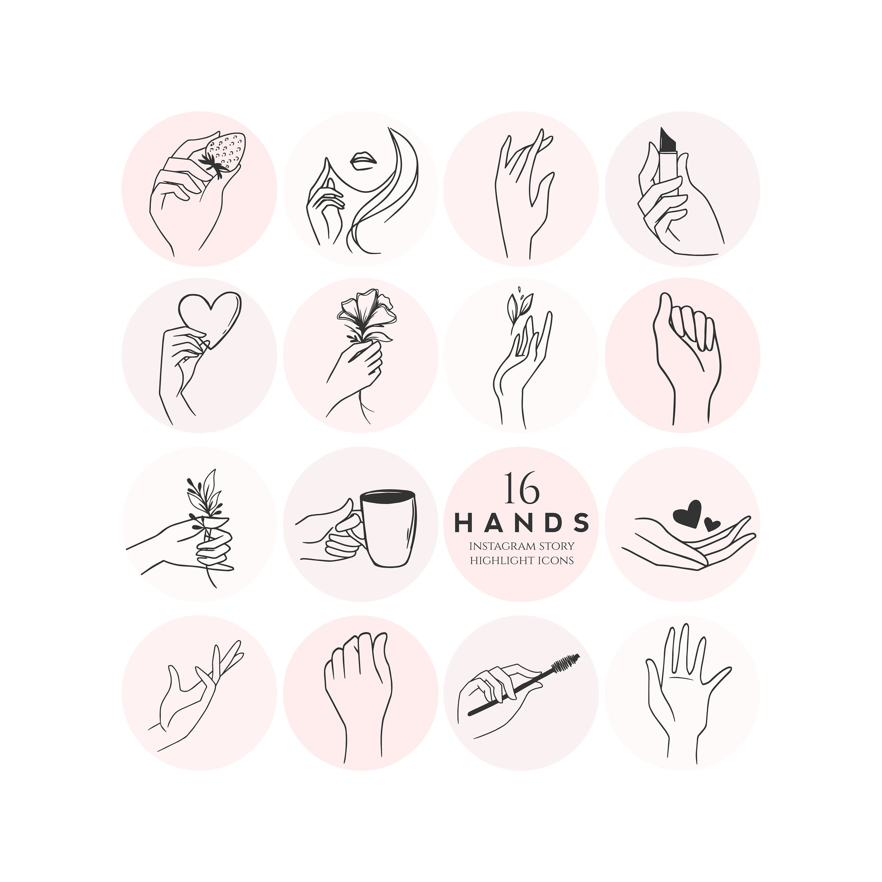 Hands Instagram Story Highlight Icons pink sketch farm