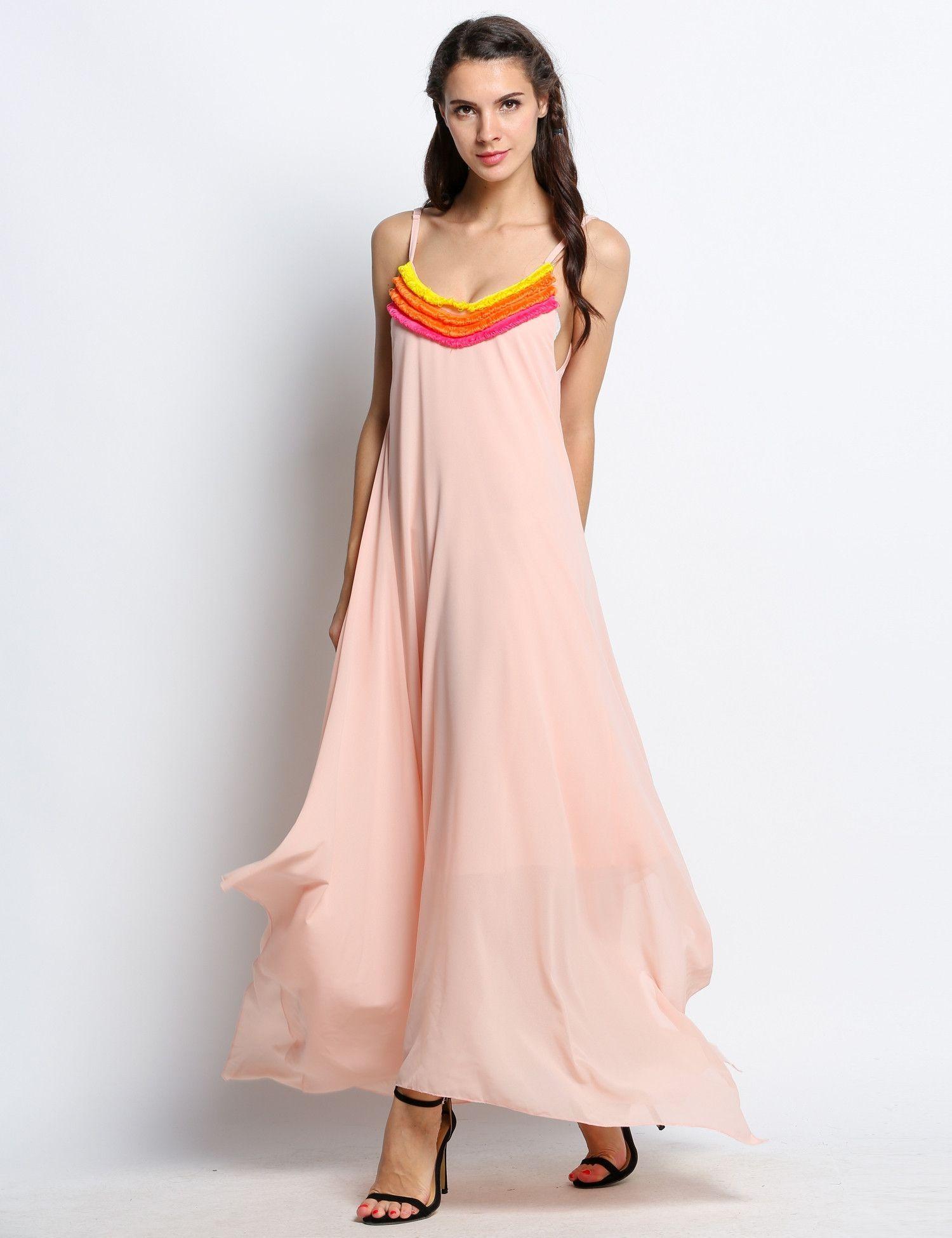 Irregular beachwear spaghetti strap ruffles spliced casual dress