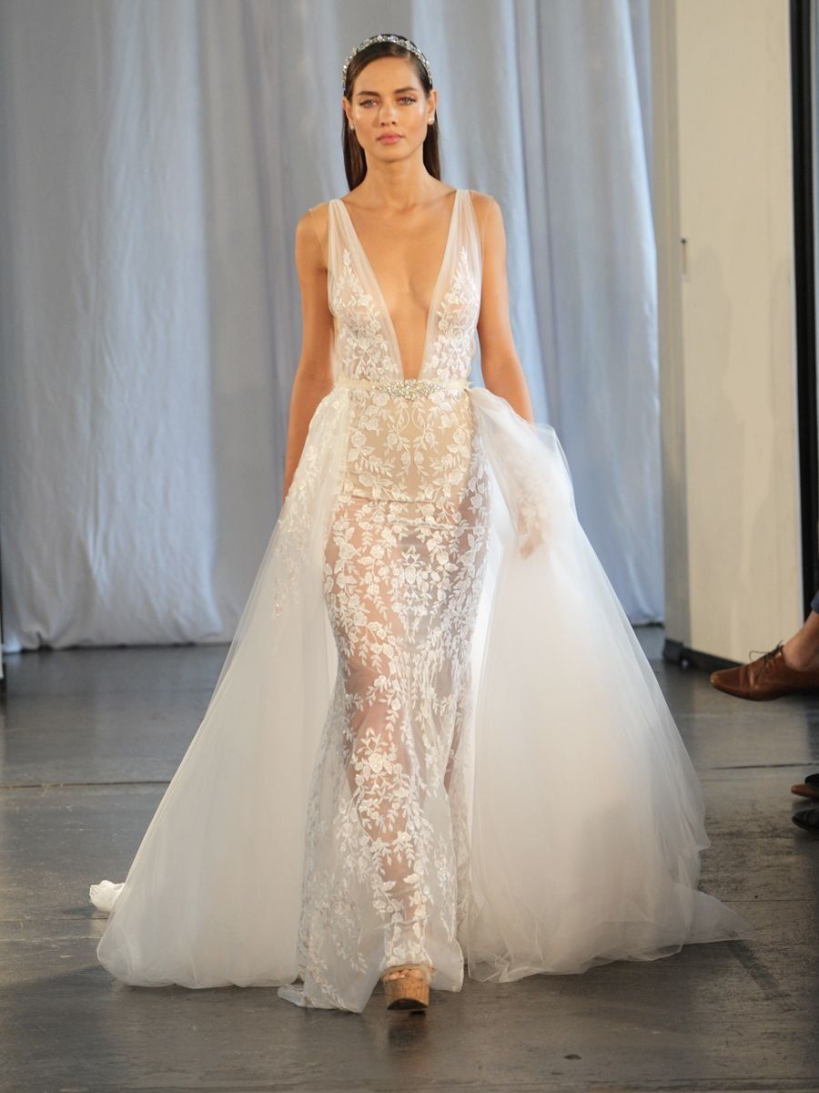 7353456c33b8 Berta Fall/Winter 2019 Bridal Collection: Lace Wedding Dress with Plunging  Neckline and Detachable Skirt