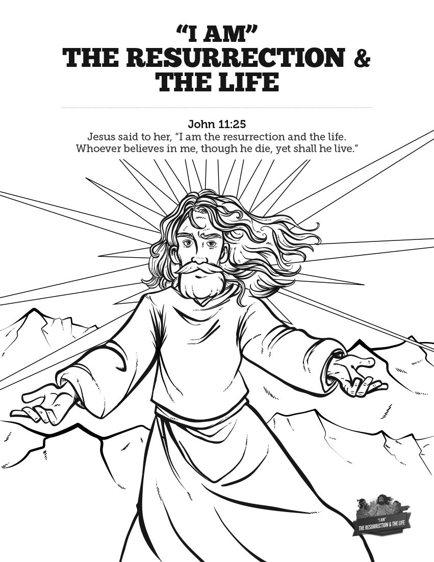 john 11 i am the resurrection and the life sunday coloring