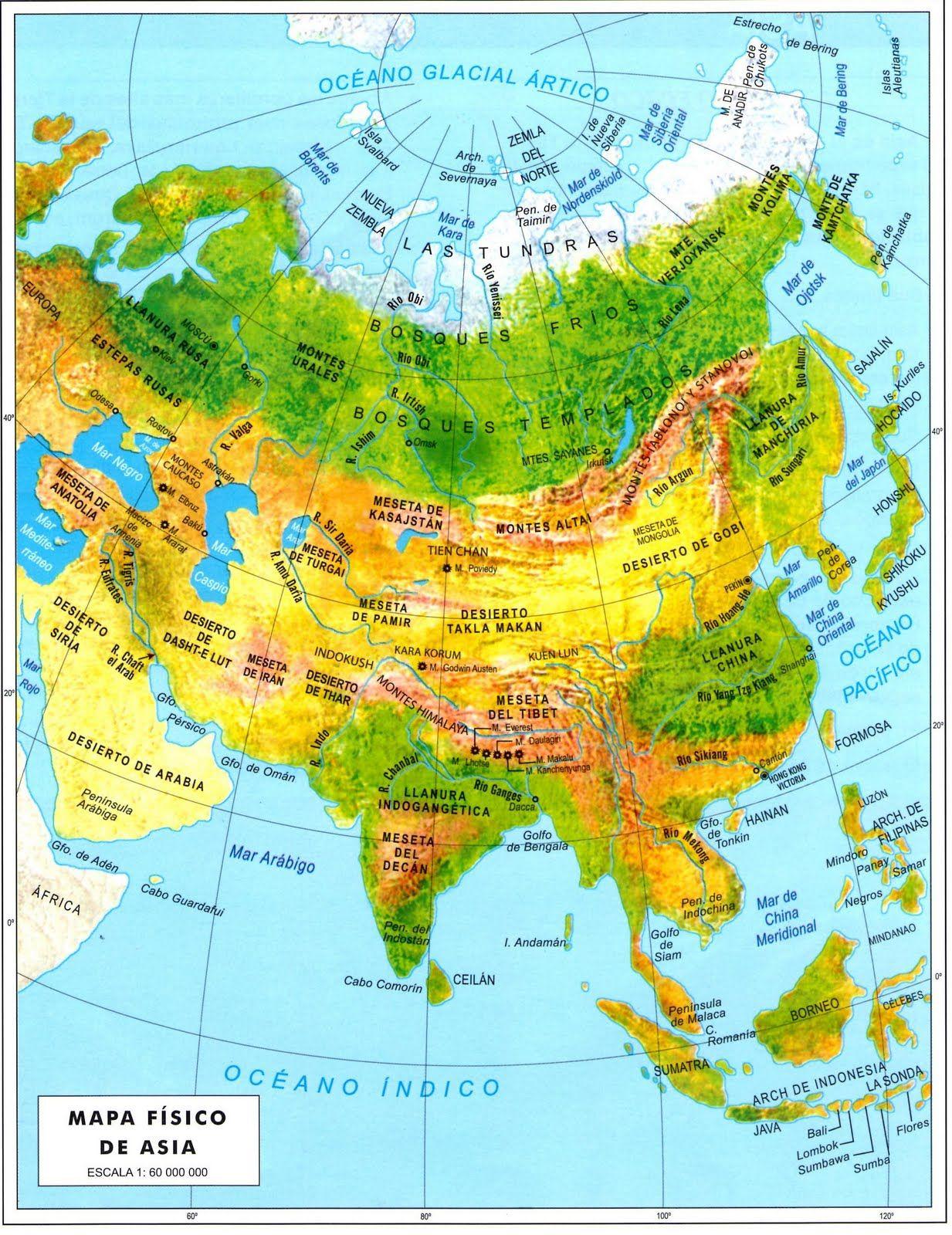Mapa Fisico De Asia Buscar Con Google Mapas Geografia E Historia
