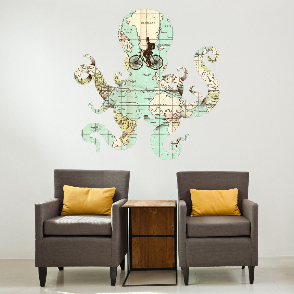 Enkel dikas all around the world wall decal wall decals walls see the world through bicycle tires which are actually eyesof a octopus shaped map enkel dika is an artist whose work speaks for itself gumiabroncs Images