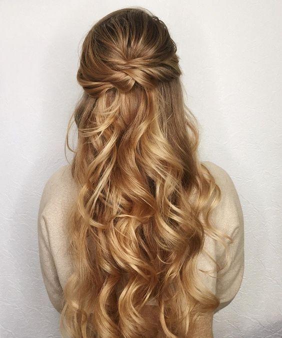 Half up half down wedding hairstyle weddings prom and prom hair harleys wedding hair bridesmaid hair half up junglespirit Image collections