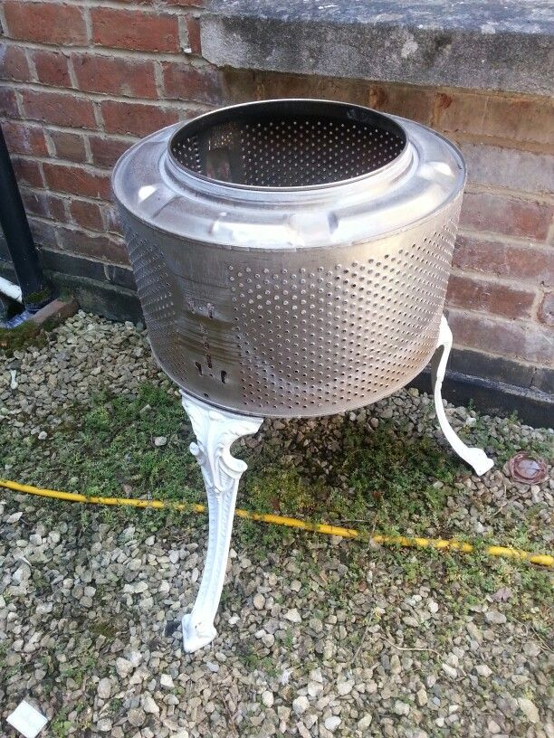 Washing Machine Drum Fire Pit With Bistro Chair Legs Made By Us Washing Machine Drum Fire Pit Drum Fire Pit