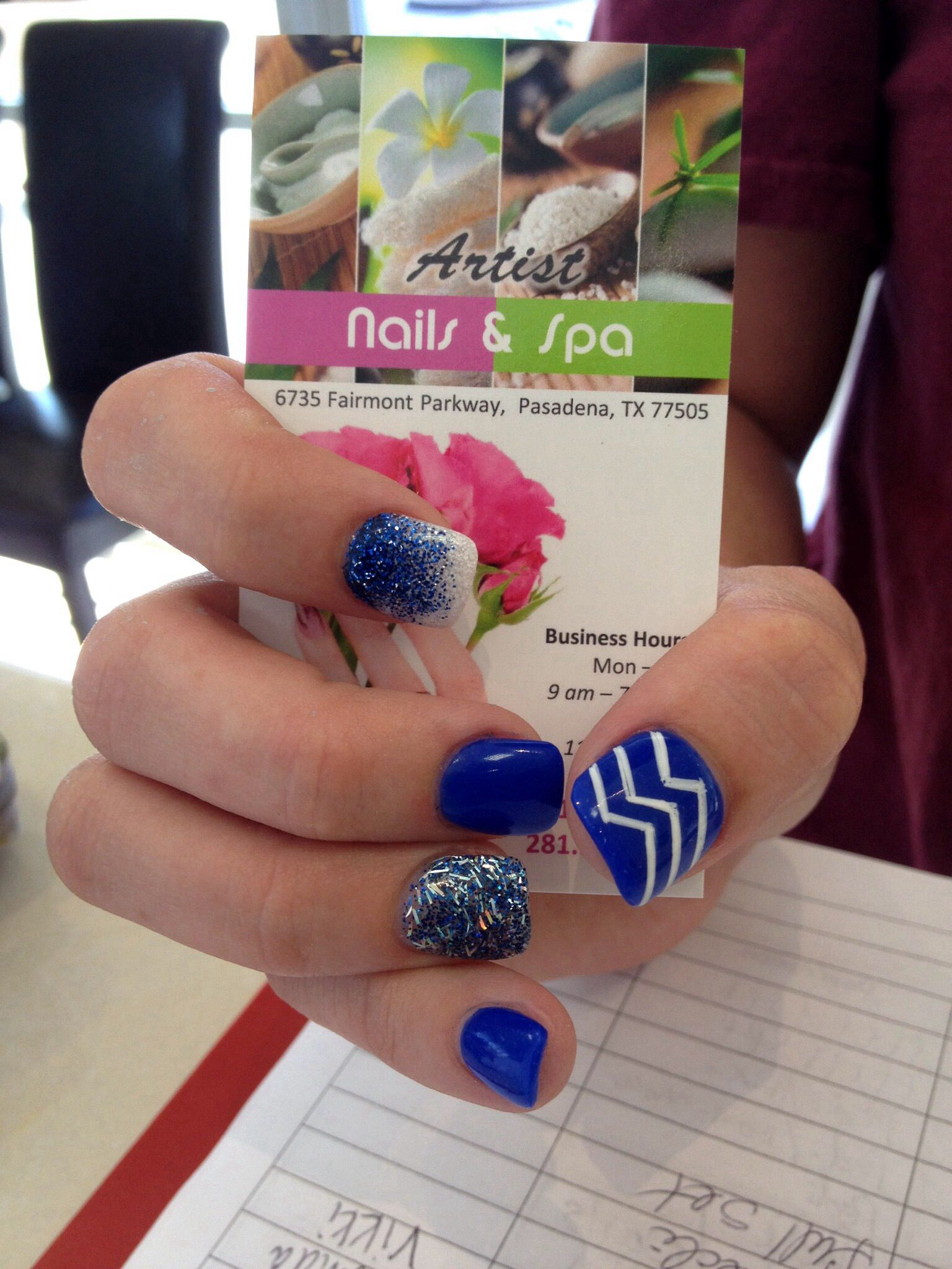 Blue nails , white nails ombré and blue glittery nails with a ...