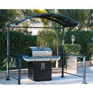 Gazebo Hard Top Grill Cover With Glass Counters Patio Lawn Garden Furniture 7 2 X 4 9 By Grill Cover At The Neighborhoo Garden Garden Structures Grill