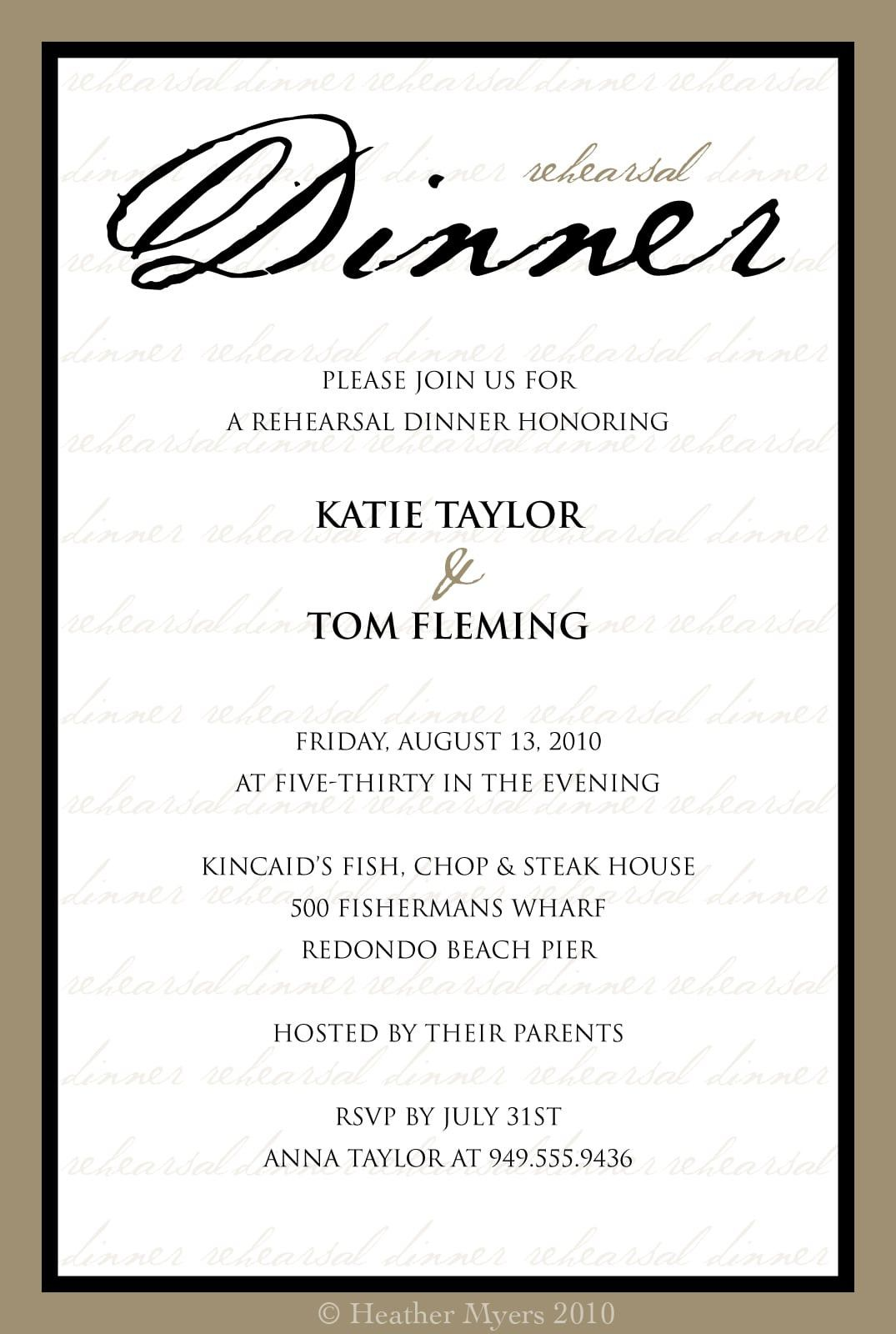 Casual Rehearsal Dinner Invitation Wording Informal Dinner Party