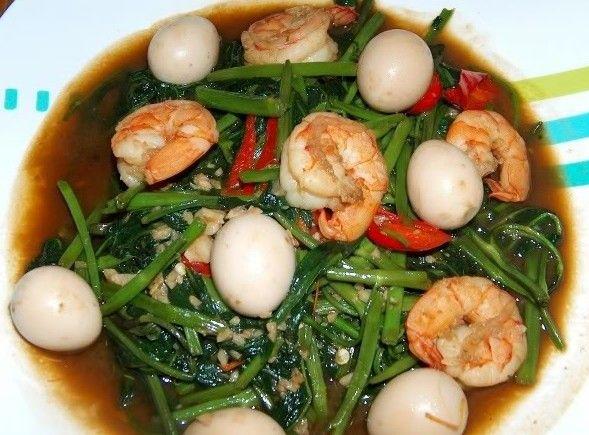 Tumis kangkung, telur puyuh, udang  Masakan, Resep masakan