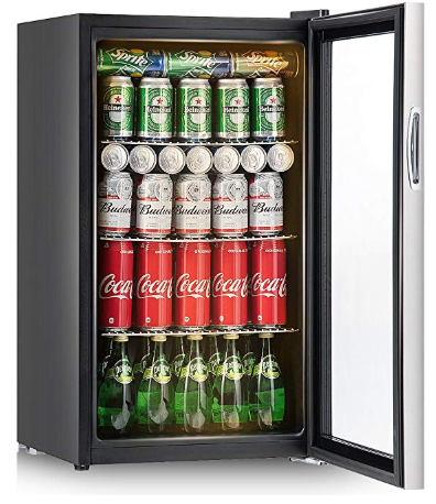 Costway 120 Can Beverage Refrigerator And Cooler Mini Fridge With Glass Door For Soda Beer Beverage Refrigerator Cool Mini Fridge Mini Fridge