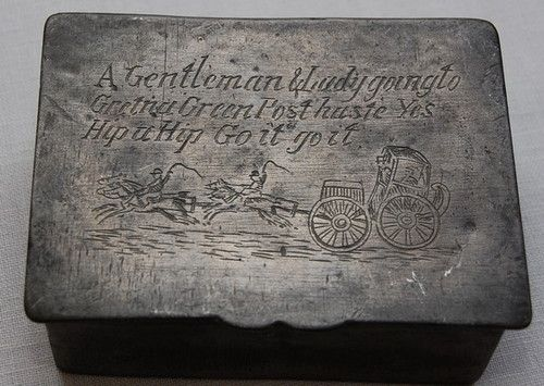 ANTIQUE ENGLISH SCOTTISH RUNAWAY WEDDING BOX PEWTER HINGED BOX 1820 - 1830