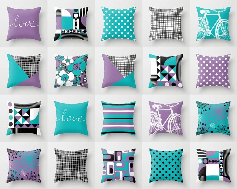 Black White Purple And Turquoise Throw Pillow Mix And Match Indoor Outdoor Cushion Cover Accent Couch Toss Aqua Teal Blue Violet Lavender In 2020 Pillow Decorative Bedroom Purple Pillows Cushions On Sofa