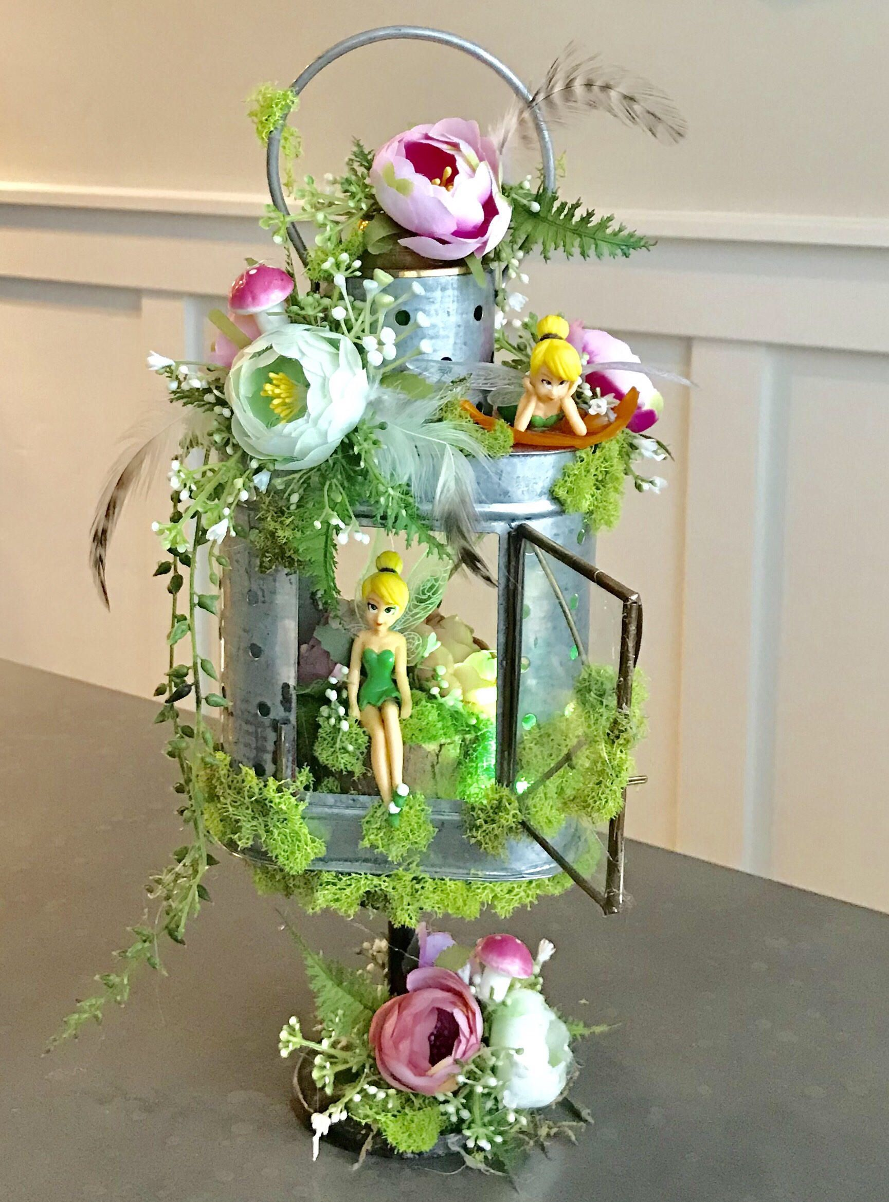 Garden decor for baby shower  Tinkerbell Lighted Centerpiece candle  Enchanted Forest