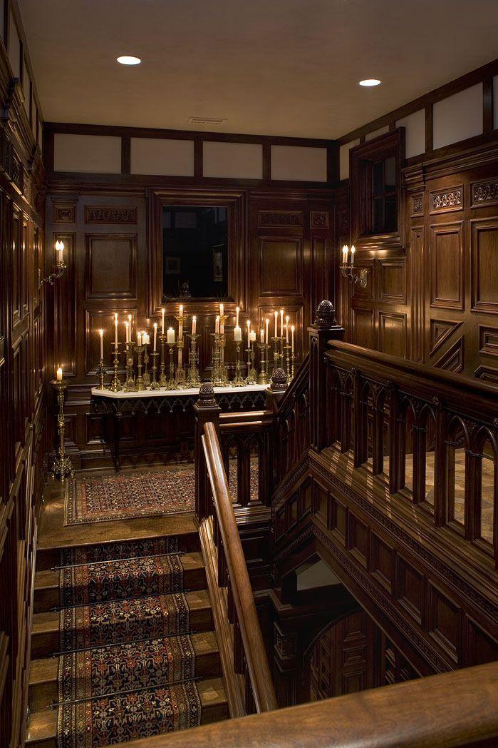 English Paneled Room: Stairwell Gothic Tudor Jacobean Carved Walnut Paneling