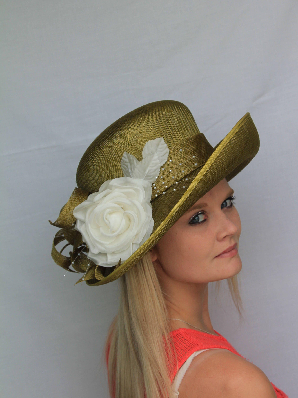 3925a2d2d3652 Olive green   ivory formal hat