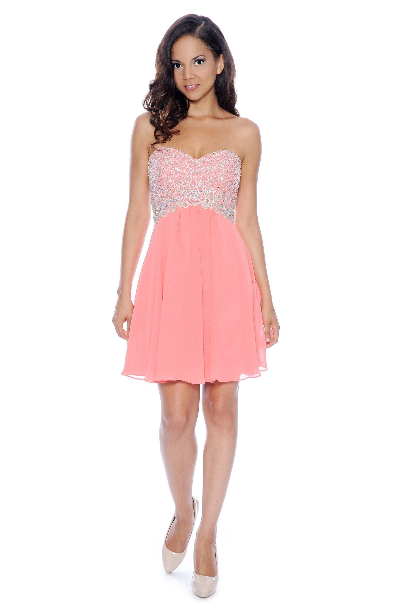 Sparkling Pink Corset Knee Length Dress - Coral | Pink | Pinterest