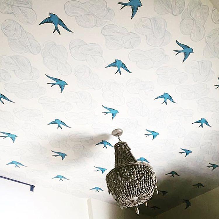 Daydream French Blue Roll Wallpaper Ceiling Nursery