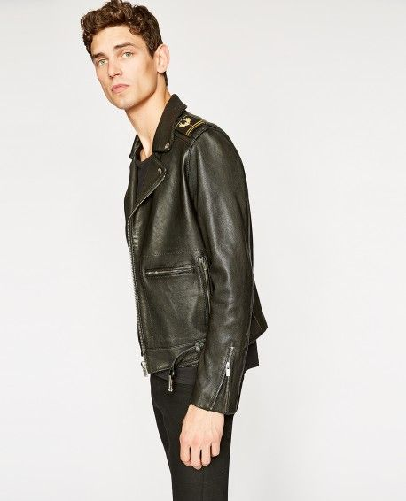 d9289cc4bc Black leather military biker jacket - THE KOOPLES | Leather wear ...
