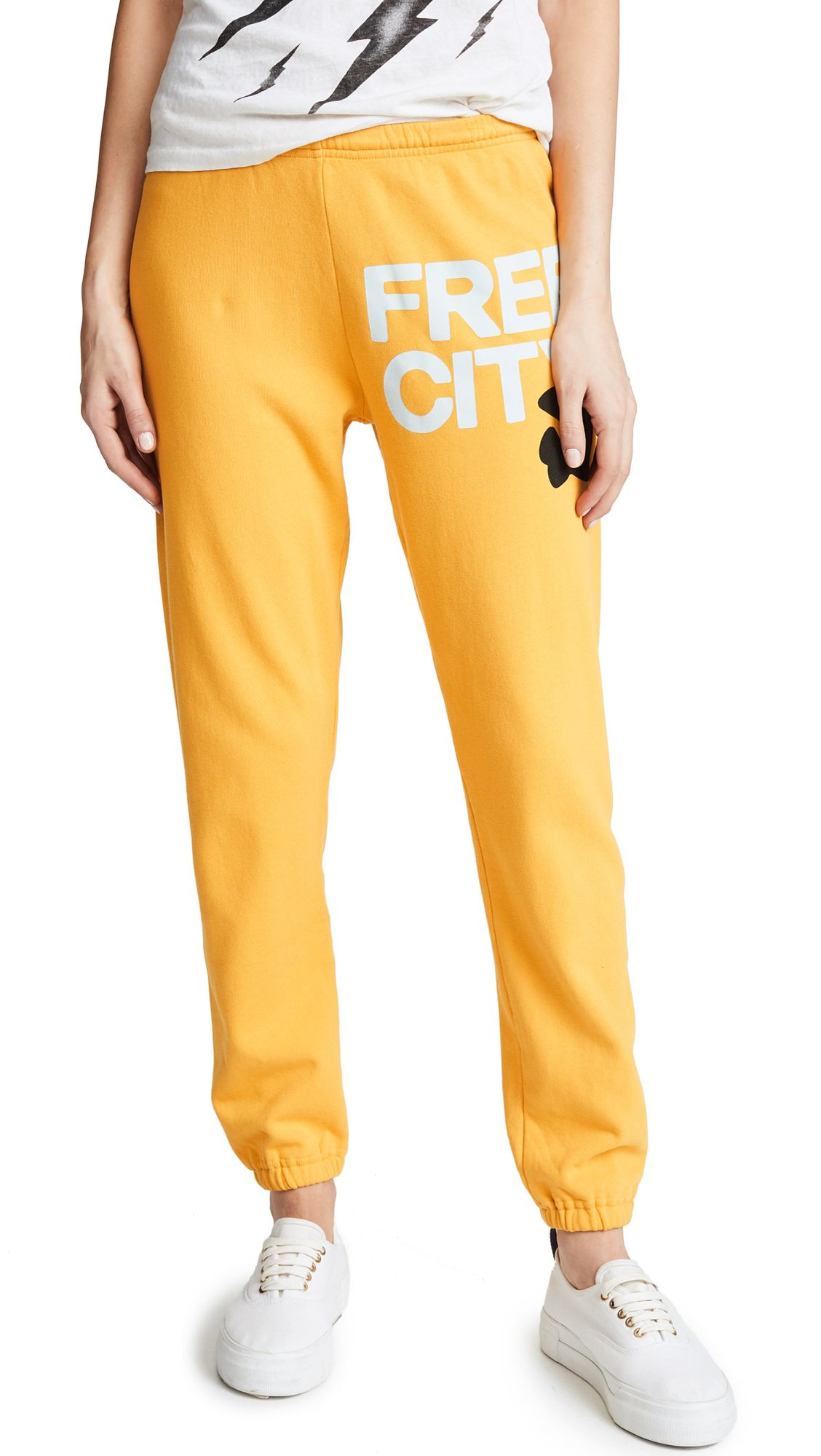 Freecity Sweatpants In Yellow Machine Modesens Sweatpants Yellow French Terry
