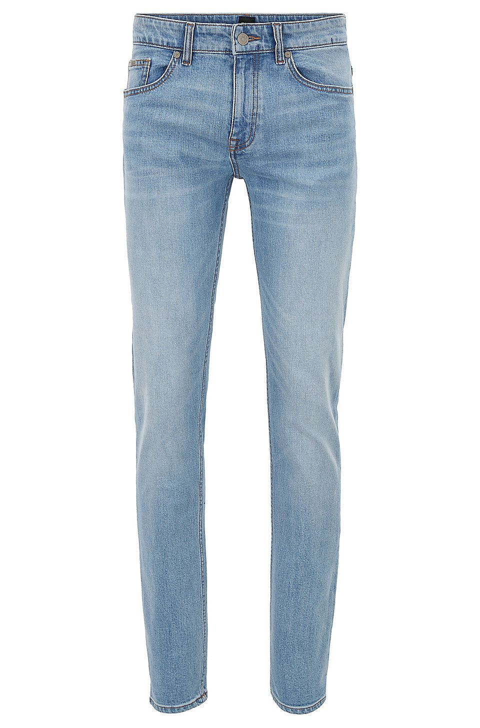 516add443de HUGO BOSS Slim-fit jeans in distressed comfort-stretch denim - Light Blue  Jeans from BOSS for Men in the official HUGO BOSS Online Store free  shipping   ...