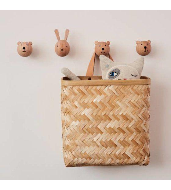 Wall Basket Sporta Naturel Bamboe 25x25cm Muur Mand Babykamer Hout Kinderkamer Decoratie