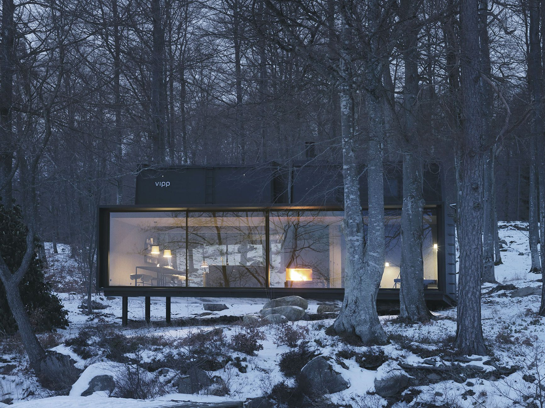 Vipp shelter in the snow | Modern prefab house | Container ...