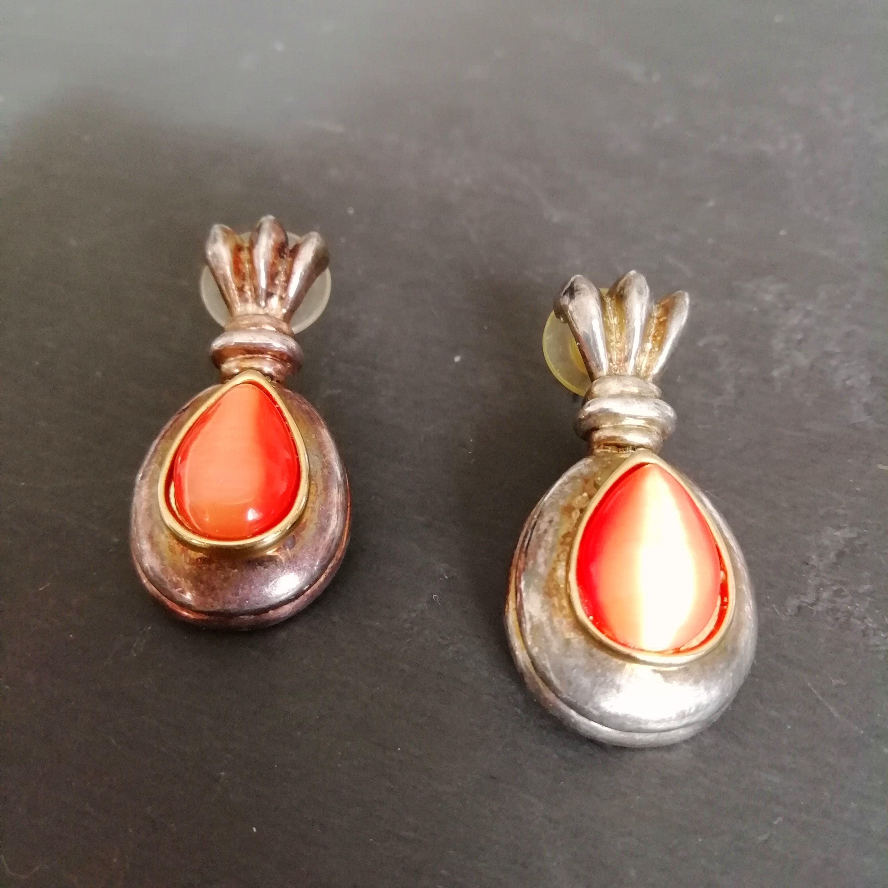 Moonglow orange stone nineties pierced ear earrings Silver plated large vintage earrings STATEMENT 90s orange EARRINGS