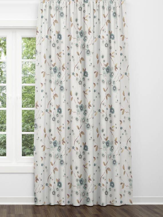Modern Farmhouse Curtains Beige Blue Fl