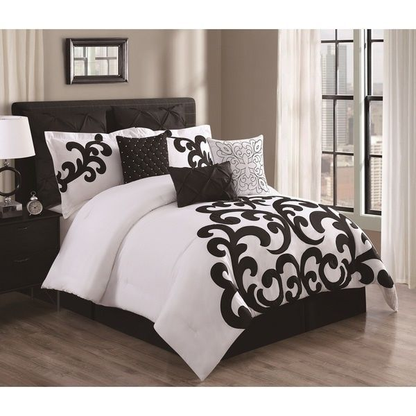 White King Size Comforter Set 9 Pcs Black Modern Bedding Pillows