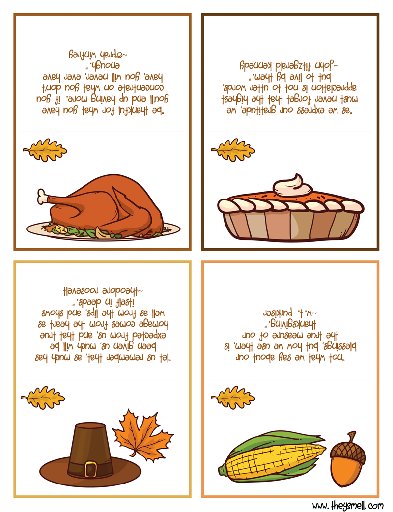 Each Card Has A Colorful Picture Place To Write Your Guests Name And A Thanksgiving Quote