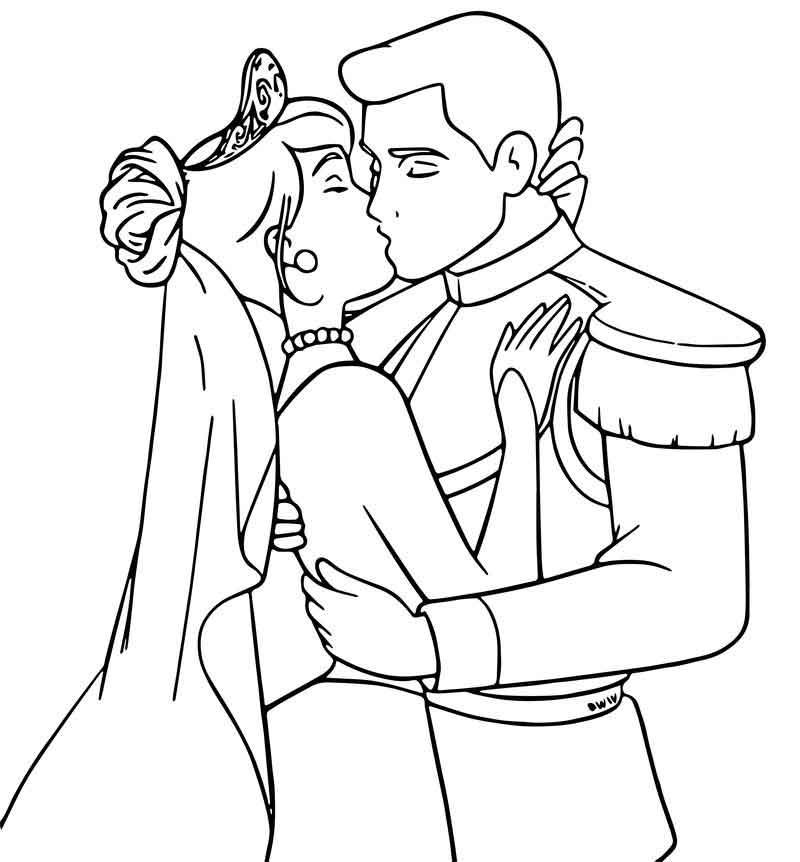 Cinderella And Prince Charming Kiss Coloring Pages ...
