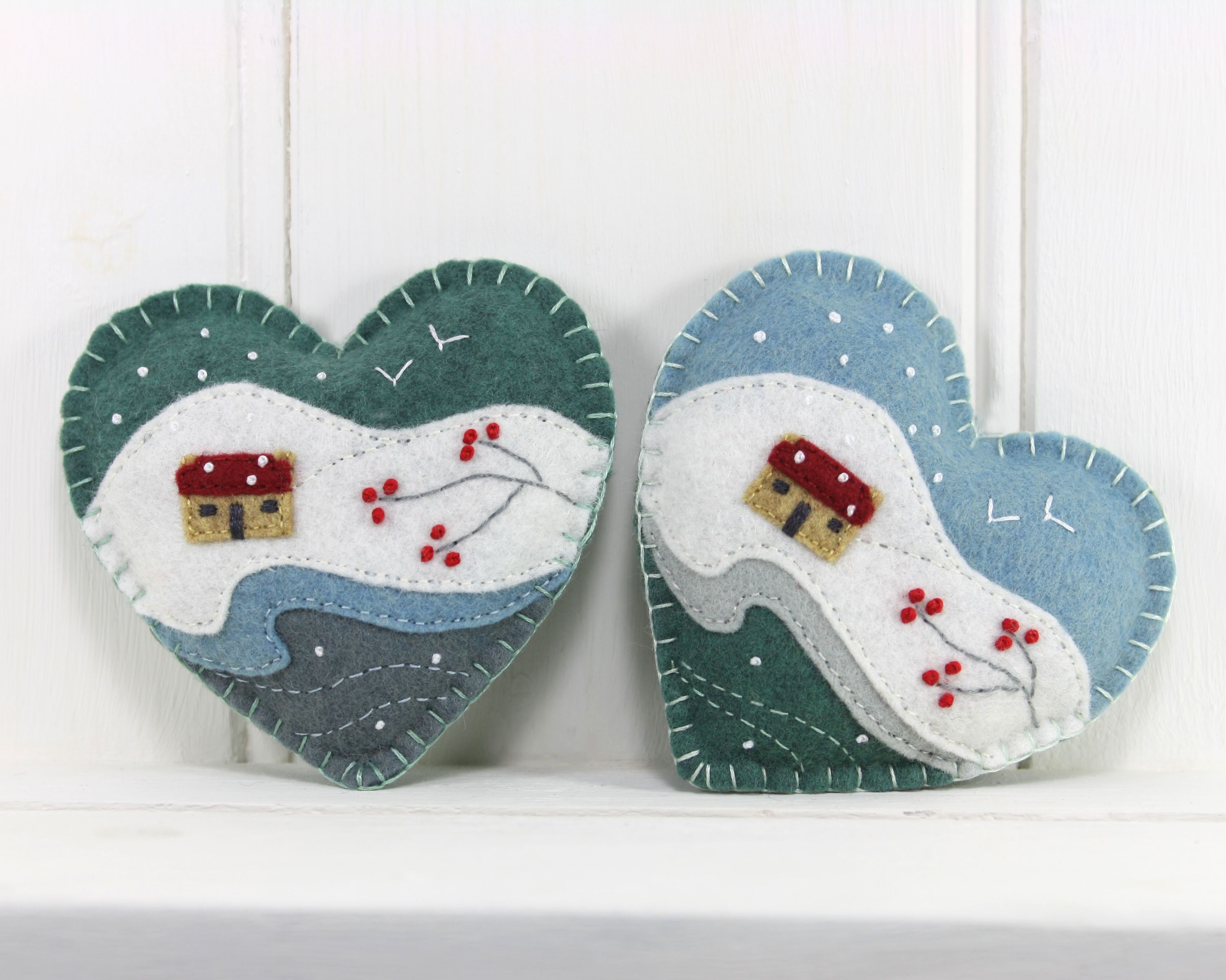 Snowy landscape cottage and berries felt christmas ornaments by