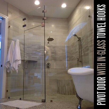 Frameless Shower Door With Glass Enclosure And Towel Hooks