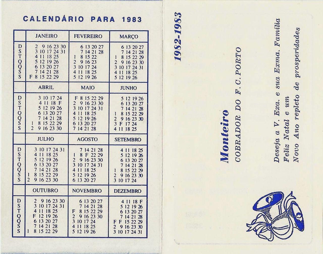 Calendário 1983